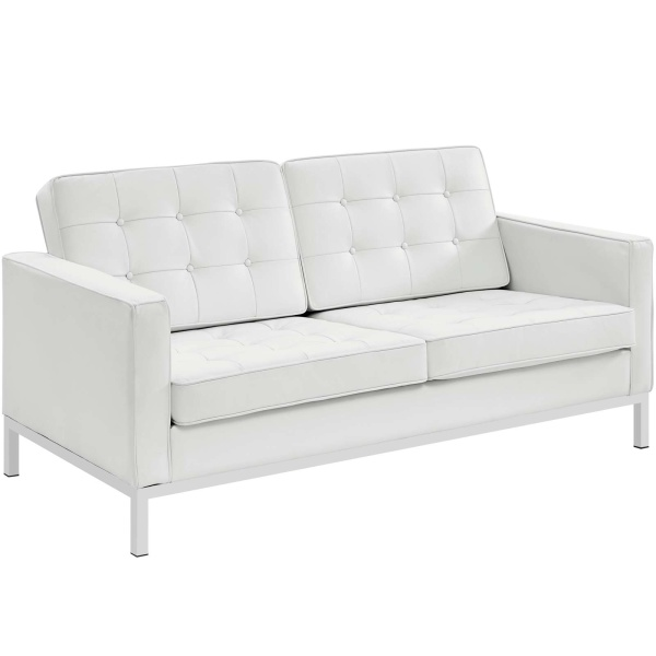 Loft Leather Loveseat Cream White
