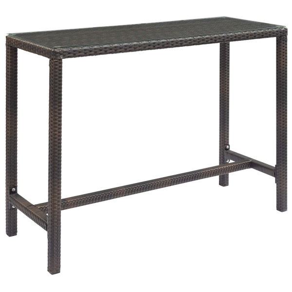 EEI-2803-BRN Conduit Outdoor Patio Wicker Rattan Large Bar Table Brown