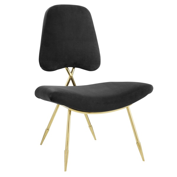 Ponder Upholstered Velvet Lounge Chair Black
