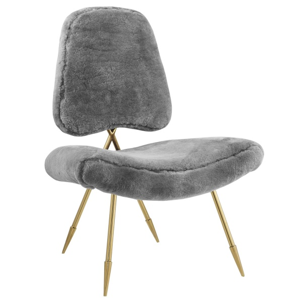 Ponder Upholstered Sheepskin Fur Lounge Chair Gray