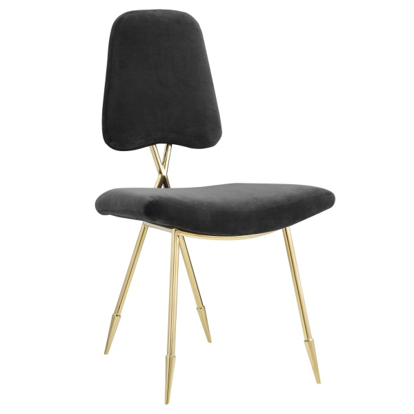 Ponder Upholstered Velvet Dining Side Chair Black