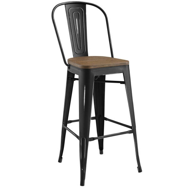 EEI-2814-BLK Promenade Bar Stool Black