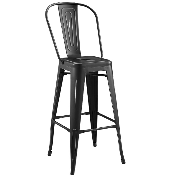 Promenade Metal Bar Side Stool Black
