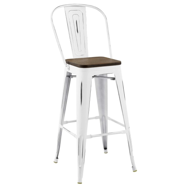 Promenade Metal Bar Stool White