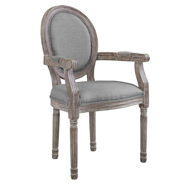 Emanate Vintage French Upholstered Fabric Dining Armchair Light Gray