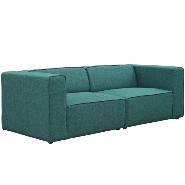 Mingle 2 Piece Upholstered Fabric Sectional Sofa Set Teal