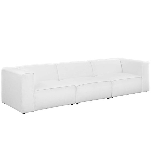 Mingle 3 Piece Upholstered Fabric Sectional Sofa Set White