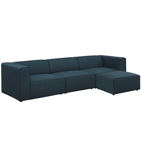 Mingle 4 Piece Upholstered Fabric Sectional Sofa Set Blue