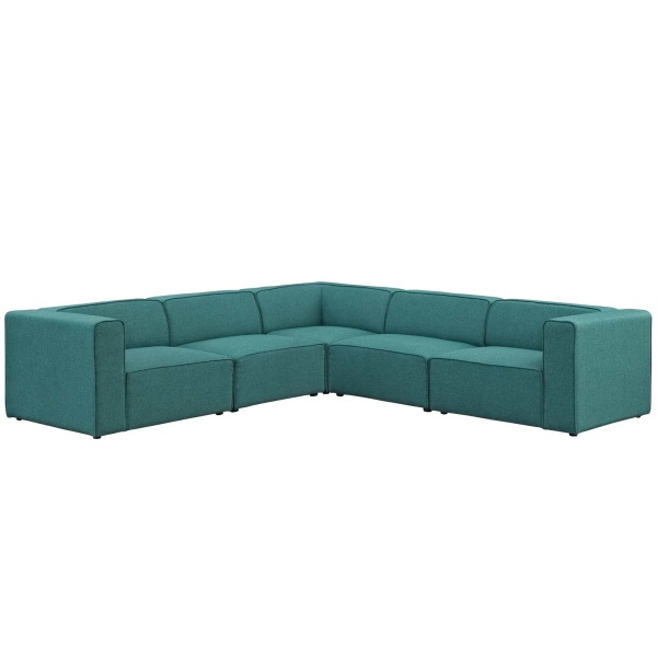 Mingle 5 Piece Upholstered Fabric Sectional Sofa Set Teal