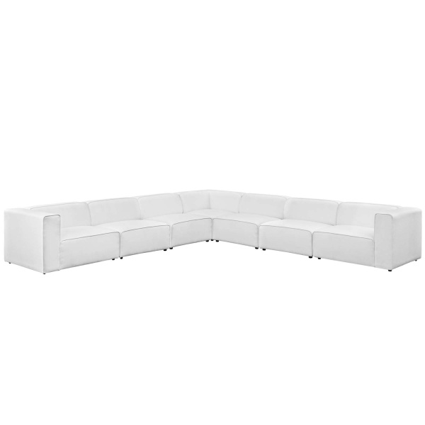 Mingle 7 Piece Upholstered Fabric Sectional Sofa Set White
