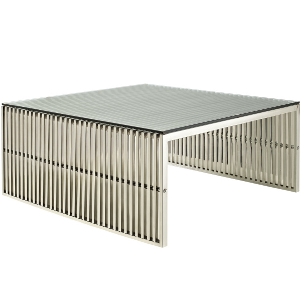 EEI-284-SLV Gridiron Coffee Table