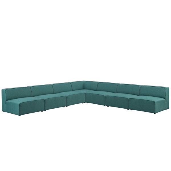 Mingle 7 Piece Upholstered Fabric Sectional Sofa Set Teal