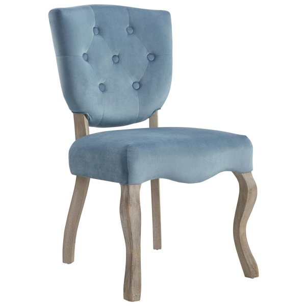 Array Vintage French Performance Velvet Dining Side Chair Sea Blue