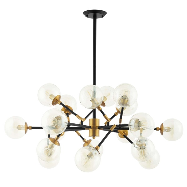 EEI-2890 Sparkle Amber Glass And Antique Brass 18 Light Mid-Century Pendant Chandelier
