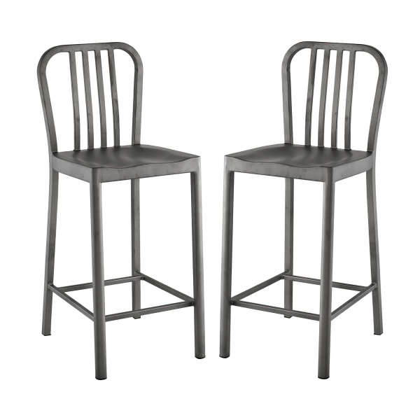 Clink Counter Stool Set of 2 Silver