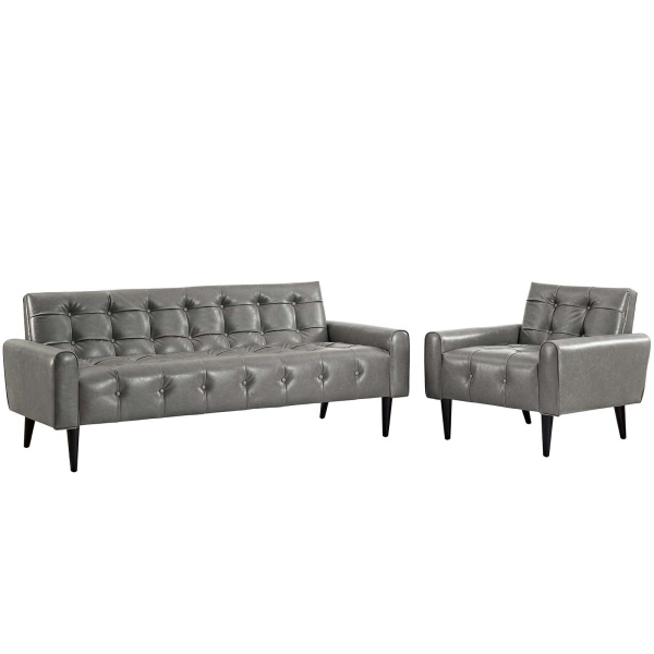 EEI-2971-GRY-SET Delve 2 Piece Upholstered Vinyl Sofa and Armchair Set Gray