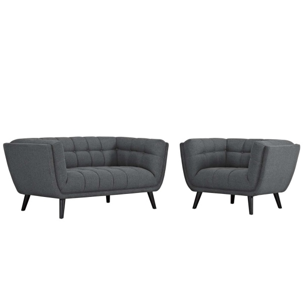 EEI-2972-GRY-SET Bestow 2 Piece Upholstered Fabric Loveseat and Armchair Set Gray