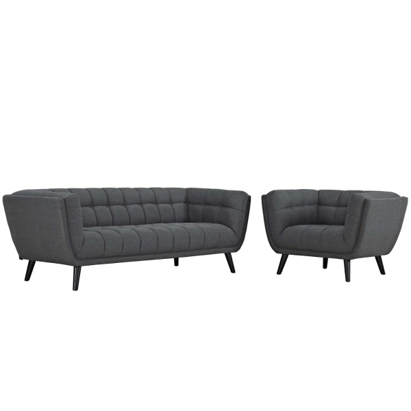 EEI-2976-GRY-SET Bestow 2 Piece Upholstered Fabric Sofa and Armchair Set Gray