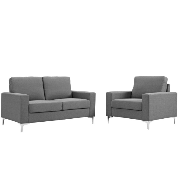 EEI-2984-GRY-SET Allure 2 Piece Sofa and Armchair Set Gray