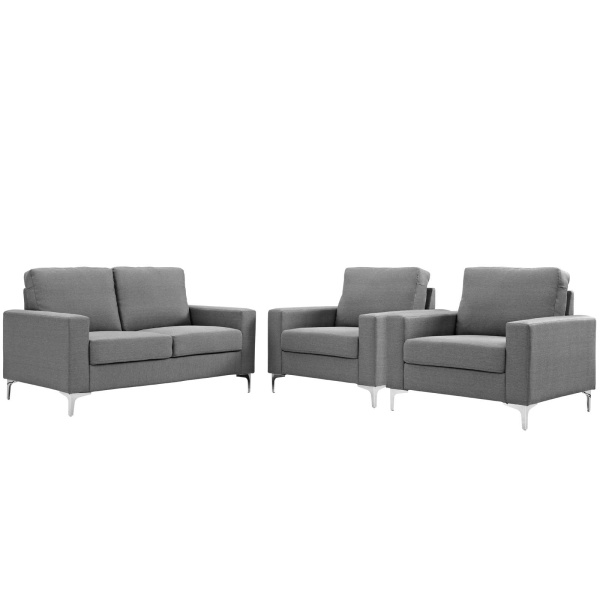 EEI-2985-GRY-SET Allure 3 Piece Sofa and Armchair Set Gray