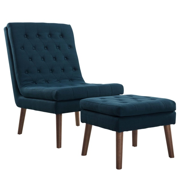 Modify Upholstered Lounge Chair and Ottoman Azure