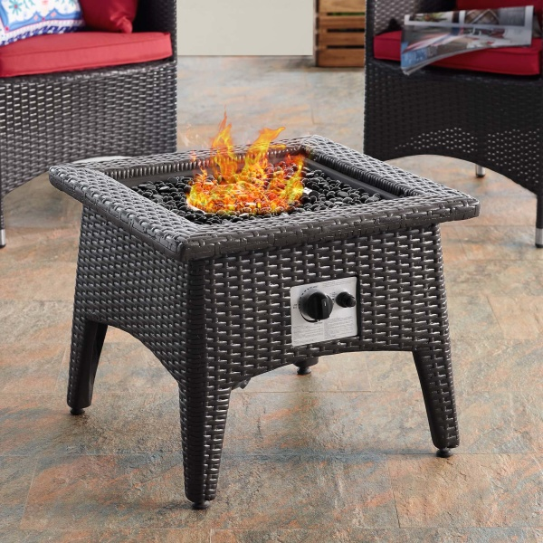 Vivacity Outdoor Patio Fire Pit Table Espresso