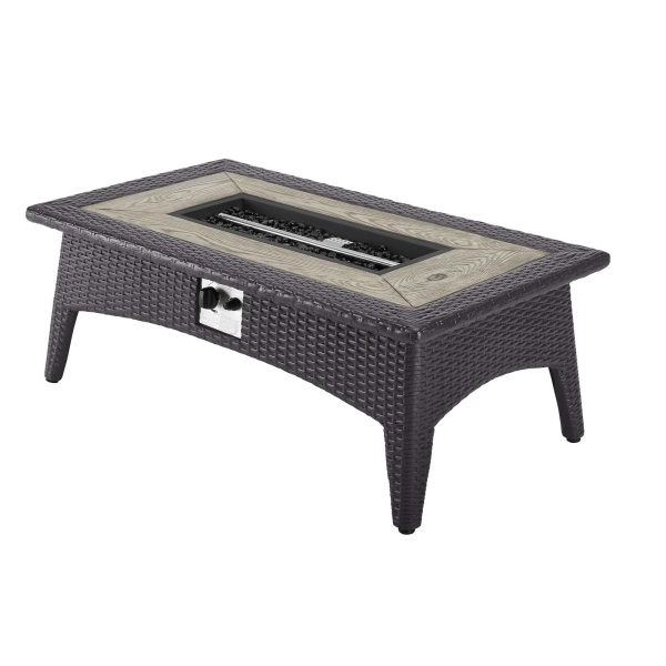 "Splender 43.5"" Rectangle Outdoor Patio Fire Pit Table Espresso"