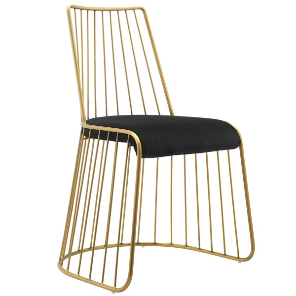 Rivulet Gold Stainless Steel Performance Velvet Dining Chair Gold Black