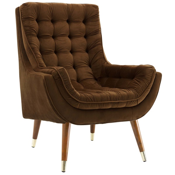Suggest Button Tufted Upholstered Velvet Lounge Chair Brown