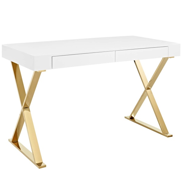 EEI-3030-WHI Sector Office Desk White Gold