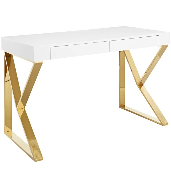 EEI-3031-WHI Adjacent Desk White Gold