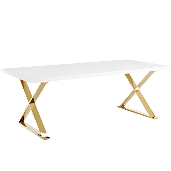 EEI-3034-WHI Sector Dining Table White Gold