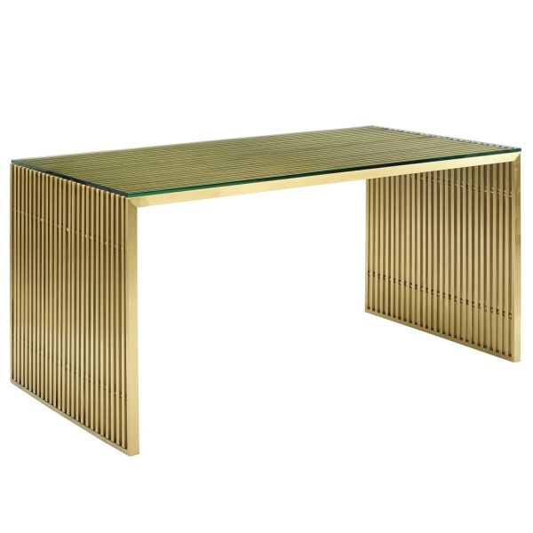 Gridiron Stainless Steel Dining Table Gold