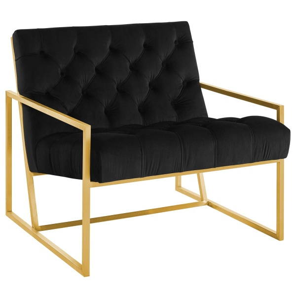Bequest Gold Stainless Steel Upholstered Velvet Accent Chair Black