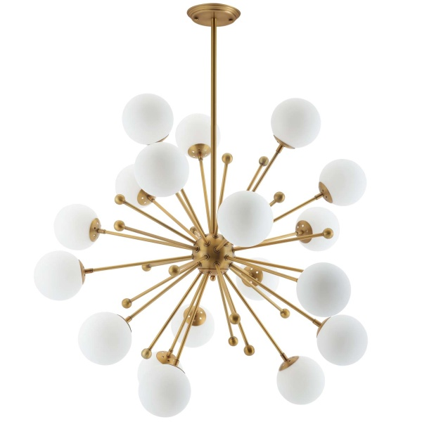 EEI-3077 Constellation White Glass and Brass Pendant Chandelier