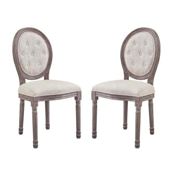 EEI-3105-BEI-SET Arise Vintage French Upholstered Fabric Dining Side Chair Set of 2 Beige