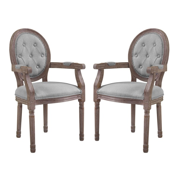 Arise Vintage French Upholstered Fabric Dining Armchair Set of 2 Light Gray