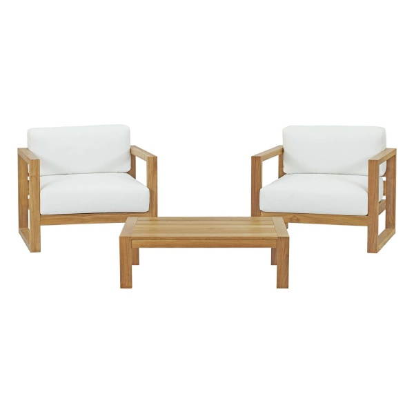 Upland 3 Piece Outdoor Patio Teak Set Natural Arm Chairs