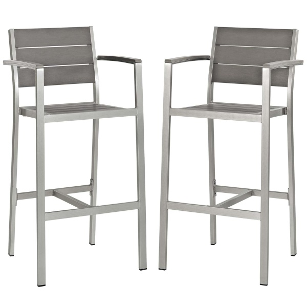 EEI-3155-SLV-GRY-SET Shore Bar Stool Outdoor Patio Aluminum Set of 2 Silver Gray Arm Chairs