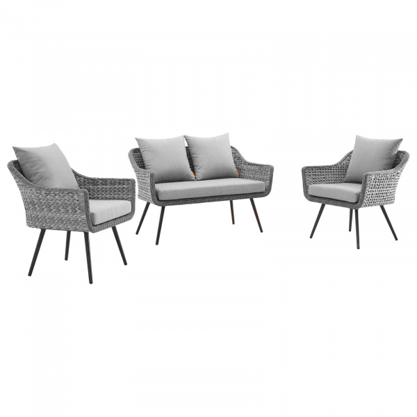 EEI-3175-GRY-GRY-SET Endeavor 3 Piece Outdoor Patio Wicker Rattan Loveseat and Armchair Set Gray Gray