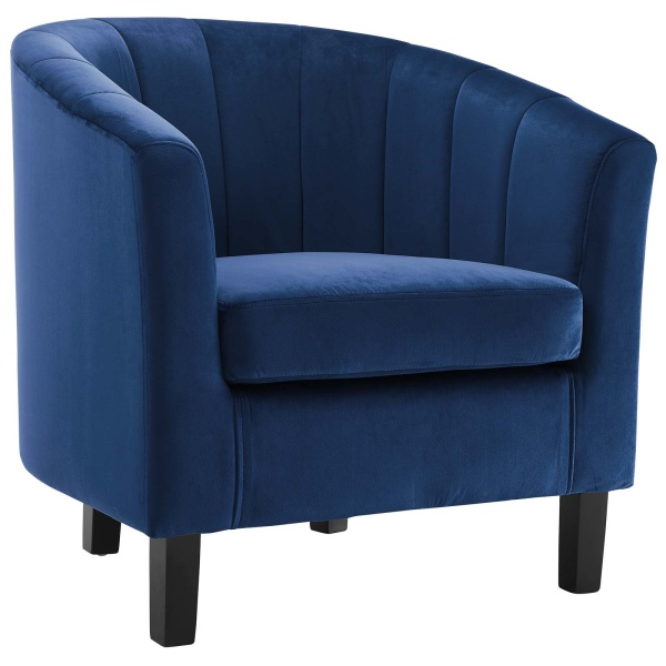 Prospect Channel Tufted Upholstered Velvet Armchair Navy