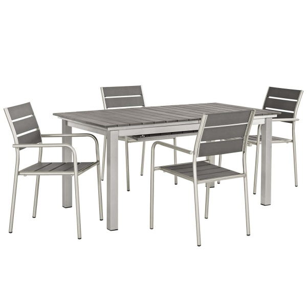 Shore 5 Piece Outdoor Patio Aluminum Dining Set Silver Gray Arm Chairs