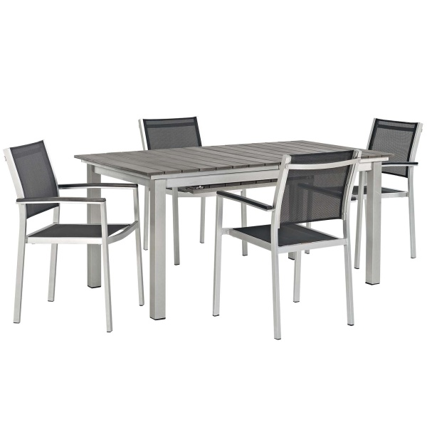 Shore 5 Piece Outdoor Patio Aluminum Outdoor Dining Set Arm Chairs