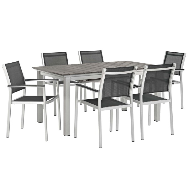 Shore 7 Piece Outdoor Patio Aluminum Outdoor Dining Set Arm Chairs