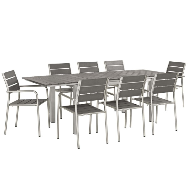Shore 9 Piece Outdoor Patio Aluminum Dining Set Silver Gray Arm Chairs