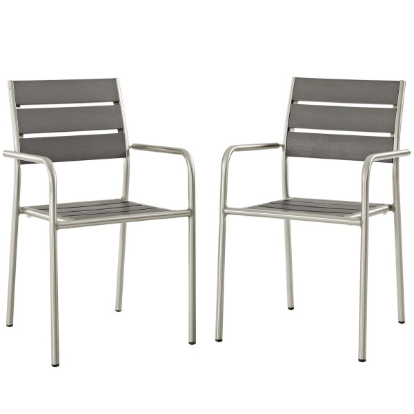 EEI-3203-SLV-GRY-SET Shore Dining Chair Outdoor Patio Aluminum Set of 2 Silver Gray Arm Chairs