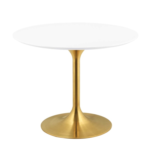 "Lippa 40"" Round Wood Dining Table Gold White"