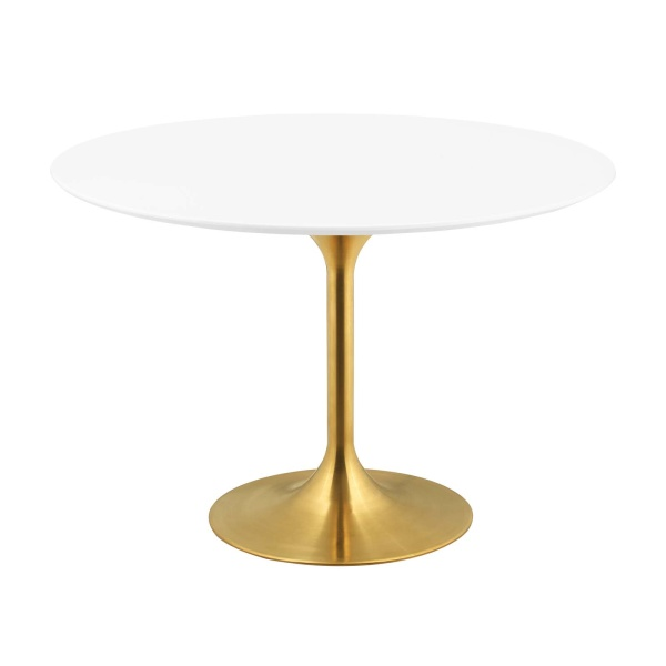 "Lippa 47"" Round Wood Dining Table Gold White"