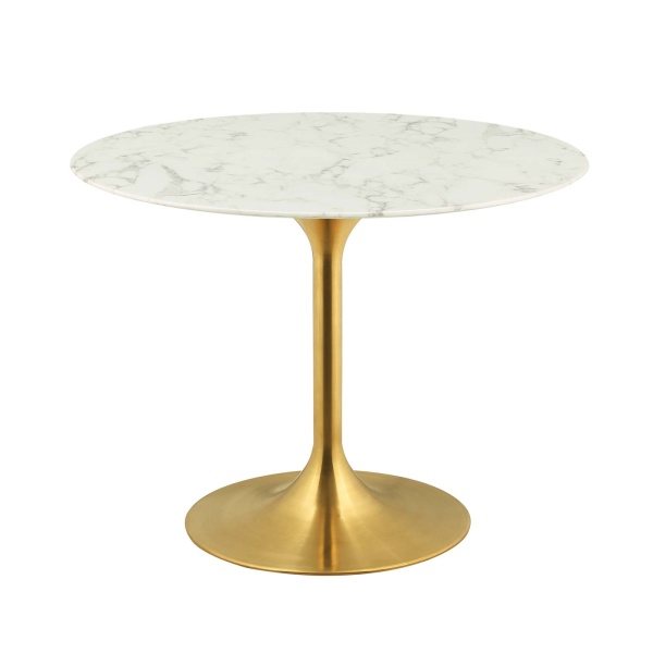 "Lippa 40"" Round Artificial Marble Dining Table Gold White"