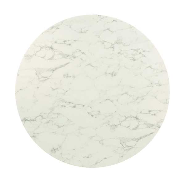 Lippa 47 Quot Round Artificial Marble Dining Table Gold White
